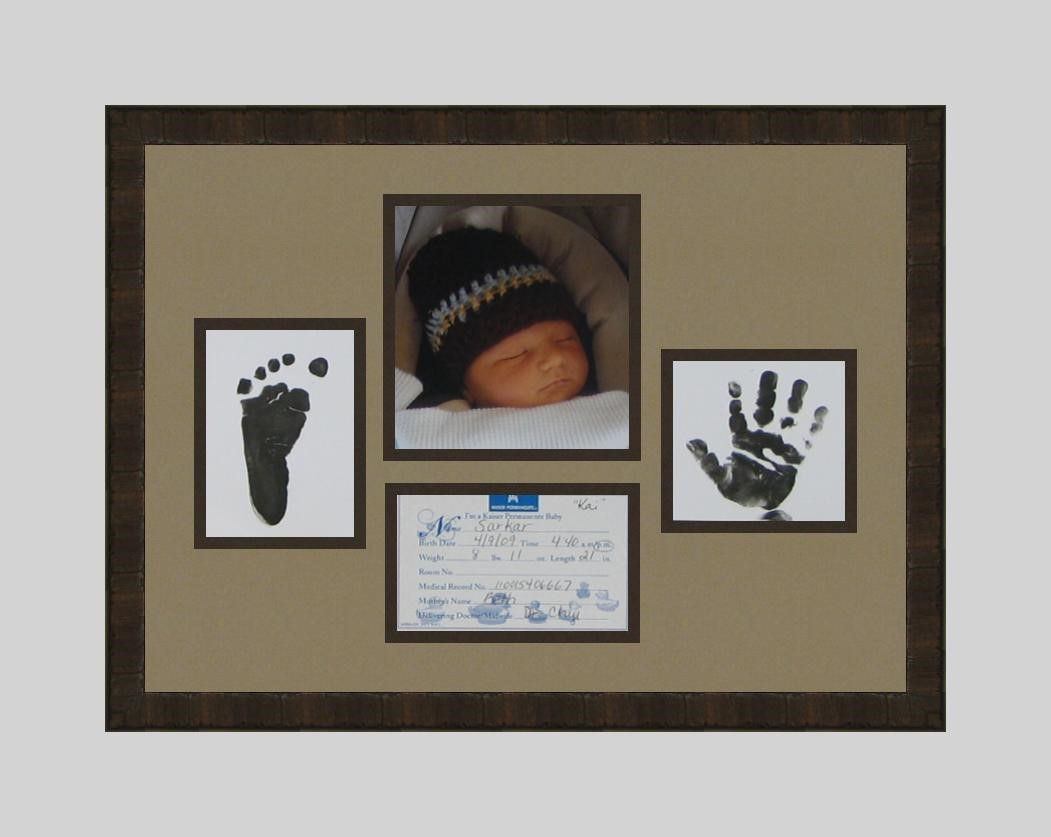 Frame your baby pictures and memorabilia.