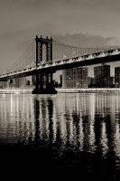 Manhattan Bridge at Night by Alan Blaustein Image/poster design © Image Conscious all rights reserved.