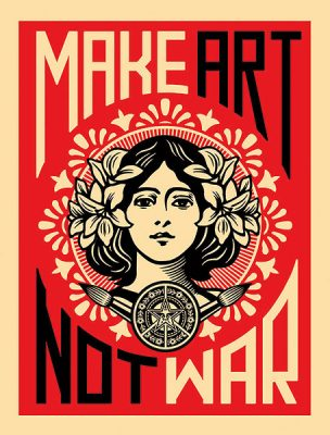 Make Art Not War By Shepard Fairey Image/poster design © Image Conscious all rights reserved.